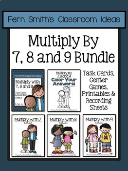 Multiplication of 7 8 and 9 Task Cards Centers Games Color