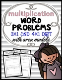 Area Model Multiplication: 3 x 1 and 4 x 1 Digit Word Problems, Lesson Packet