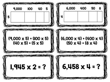 Multiplication with Area Models, Equations & Distributive Property Match-Up