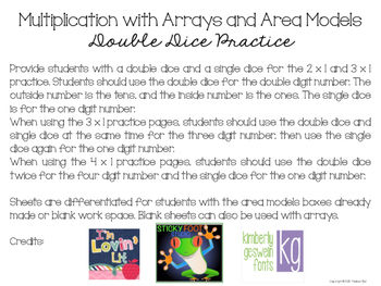 Multiplication with Arrays and Area Models - Double Dice Practice