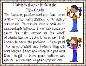 Multiplication with Decimals Task Cards (4 Sets)