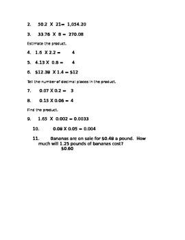 Multiplication with Decimals Test