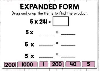 Multiplication with Expanded Form Digital Boom Cards