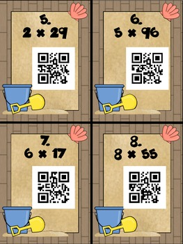 Multiplication with QR Codes SCOOT! - 1x2 digits (exact answer)