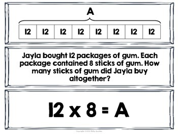 Multiplication with Strip Diagrams & Equations Match-Up Cards {TEKS 4.5A}