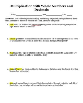 Multiplication with Whole Numbers and Decimals Editable Word Problems