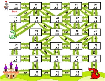 Multiplication with numbers between 0 and 99 (Fun Worksheets / Mazes)