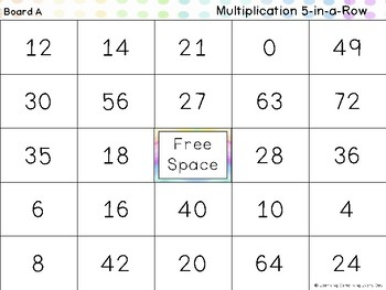 Multiplication within 100  5 in a Row Game