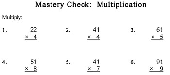 Multiplication without Regrouping - worksheets - Individualized Math