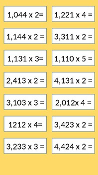 Multiplication without regrouping / multiplication Cards
