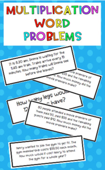 Multiplication word problem cards {32 different problem cards} Printer friendly!