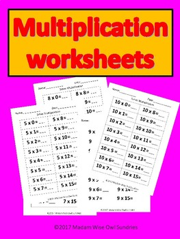 Multiplication work sheets