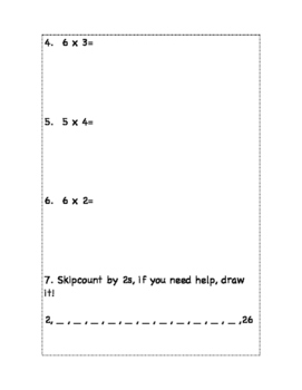 Multiplication worksheet using arrays