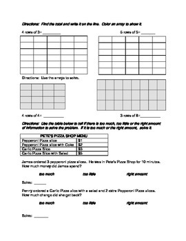 Multiplication, write the rule, arrays REVIEW