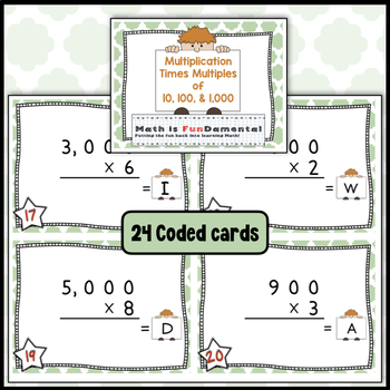 Multiplication x 10s, 100s, and 1,000s - Task Cards with Unique Answer Code