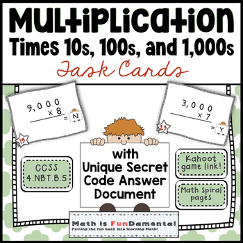 Multiplication x 10s, 100s, and 1,000s - Task Cards with U