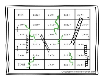 Multiplication x2-12 Snakes and Ladders Game boards