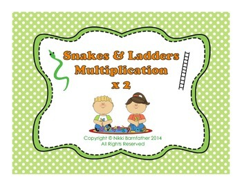 Multiplication x2 Snakes and Ladders Board Game