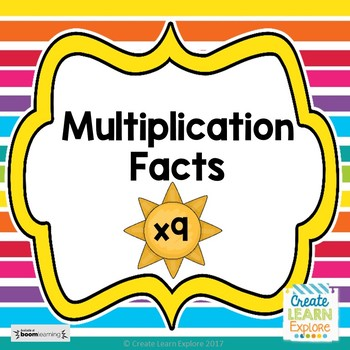 Multiplication x9 Digital Task Cards Summer Theme