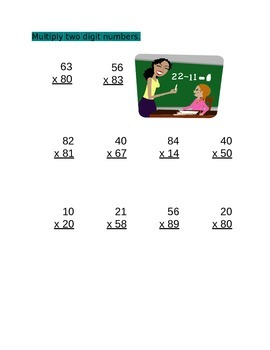 Multiplication(2 Digit Number) for 4th Grade