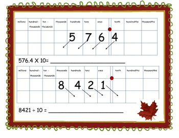Multiplication/Division Base 10 in Place Value Chart
