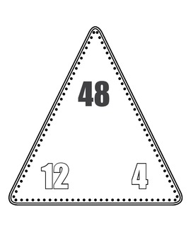 Multiplication/Division Fact Family Triangle Flash Cards (Black and White)