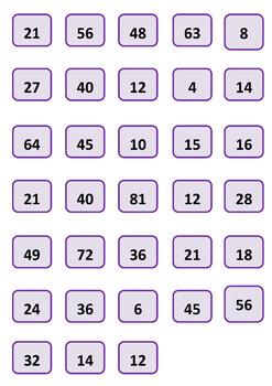 Multiplications board and lotto game / Einmaleins / Таблица умножения