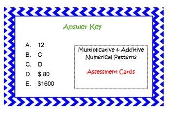 Multiplicative & Additive Properties Assessment Cards Grade 5