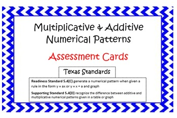 Multiplicative & Additive Properties Assessment Cards Grade 5