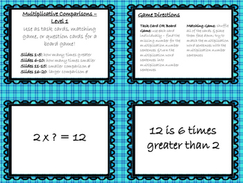 Multiplicative Comparison Card Bundle - Levels 1 & 2