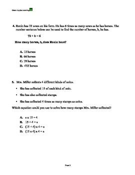 Multiplicative Comparison Math Assessment w/ Const. resp.