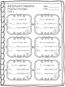 Multiplicative Comparison Mini Unit 4.OA.A.1