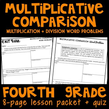 Multiplicative Comparison: Multiplication & Division Word Problems Lesson Packet