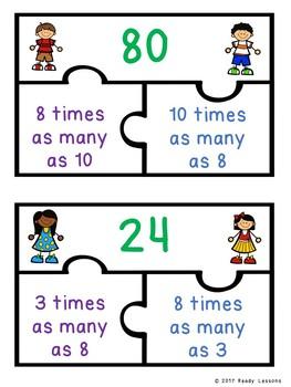 Multiplicative Comparison Puzzles for 4th Grade Multiplication Game 4.OA.1