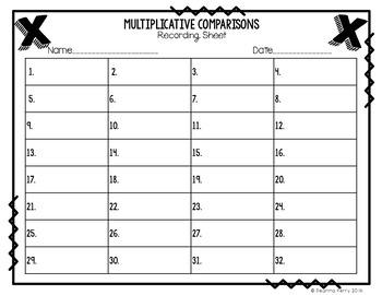 Multiplicative Comparison Task Cards