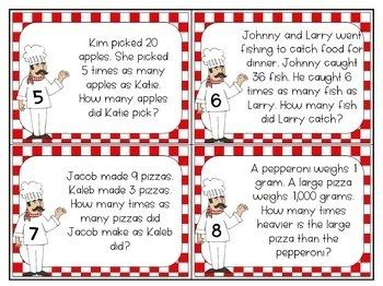 Multiplicative Comparison Task Cards 4.OA.2