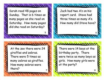 Multiplicative Comparison Task Cards 4.OA.2 Fourth Grade Common Core Math