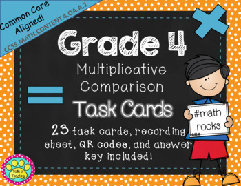 Multiplicative Comparison Task Cards Grade 4