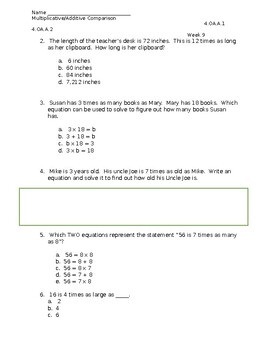 Multiplicative Comparison Test - 4.OA.A1
