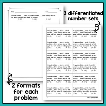 Multiplicative Comparison Word Problems and Discussion Guide Fall Edition