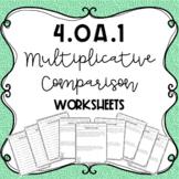Multiplicative Comparison Worksheets (4.OA.1) | Distance Learning