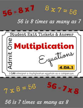 Multiplicative Comparisons - Exit Tickets & Answers - 4.OA.1 - Grade 4