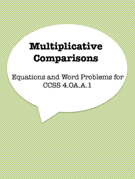 Multiplicative Comparisons Practice Sheet