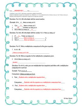 Multiplicative Comparisons Practice Worksheet