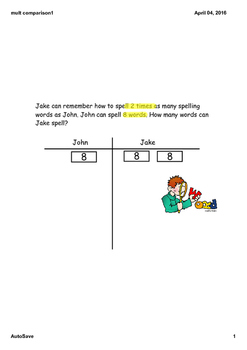 Multiplicative Comparisons ,Step-by-Step SMARTboard Lesson