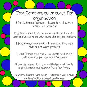 Multiplicative Comparisons Task Cards and Worksheets 4th Grade Common Core