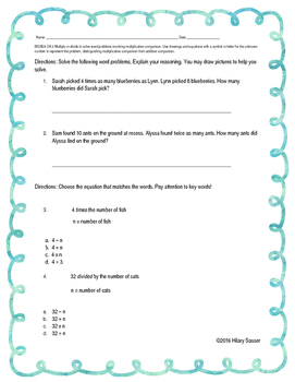 Multiplicative Comparisons with Word Problems Worksheet 1