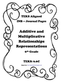 Multiplicative and Additive Relationships Representations INB TEKS 6.6C