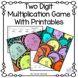 Multiplicaton Task Cards Two Digit with Printables 4.NBT.5