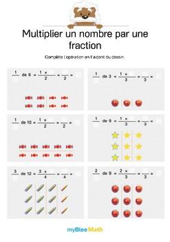 Multiplier un nombre par une fraction 5 - Complète l'opération grâce au dessin